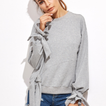 shein pull gris noeud